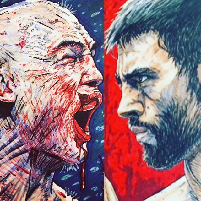 """artwork of """"Ruthless"""" Robbie Lawler vs Carlos Condit fight : if you love #MMA, you'll love the #UFC & #MixedMartialArts inspired fashion at CageCult: http://cagecult.com/mma"""