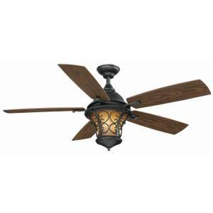 Hampton Bay, Veranda II 52 in. Natural Iron Indoor/Outdoor Ceiling Fan, AL03-NI at The Home Depot - Mobile