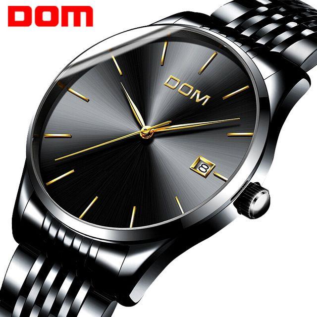 Best Offer $19.90, Buy watch men DOM Top Brand Luxury Quartz watch Casual quartz-watch stainless steel Mesh strap ultra thin clock male Relog M-11BK-1M