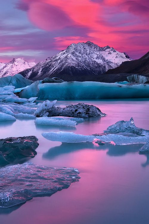 In A Blaze Of Glory by Darren J Bennett - Lake Tasman, Mount Cook, New Zealand…