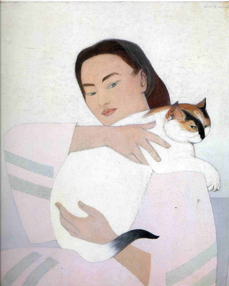 """""""Young Woman with White Cat"""" ~ gouache painting by Will Barnet."""