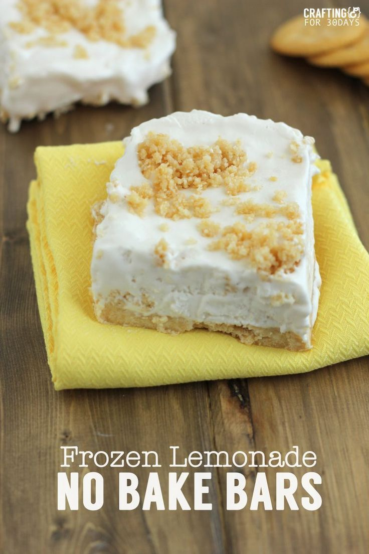 Frozen Lemonade No Bake Bars are a great summer dessert iea! From CraftingE via http://www.thirtyhandmadedays.com