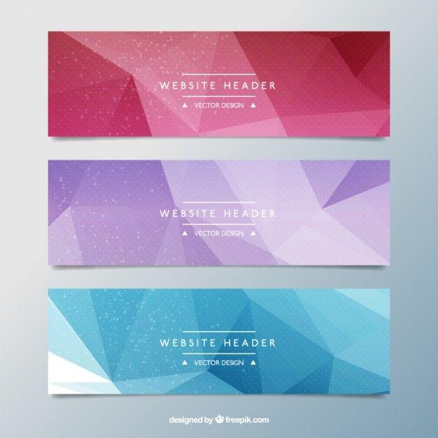 Banners coloridos poligonales Vector Gratis
