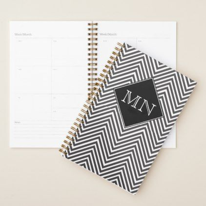 Black and White Abstract Chevron Pattern Monogram Planner - black and white gifts unique special b&w style