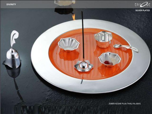 Silver-Plated Kesar Puja Thali . Call- 9830554561.