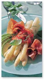 (Weisser Spargel mit Schwarzwälder Schinken) A real easy-eating treat — blanched white asparagus with fine air-dried ham. Serves: 4 Ingredients: 1 lb fresh white asparagus 1 large ripe avocado 1/2 cup Basic Oil and Vinegar Dressing (see recipe below) 4 ripe round or plum tomatoes, skinned 4 large fresh Basil leaves, shredded 8 wafer-thin slices …