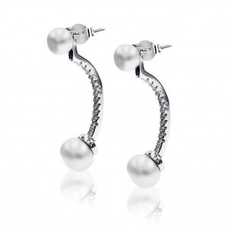 Stříbrné výrazné náušnice pod ucho s perlami a zirkony