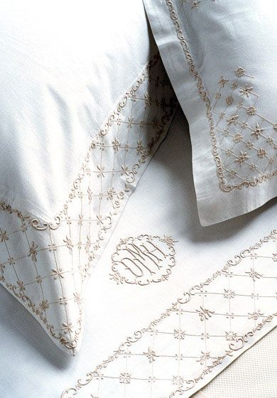 Emily - Lattice border design evokes the feeling of understated elegance in this hand-embroidered bed set. Sigh.