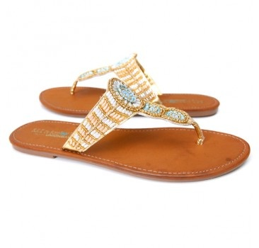 by Barefoot Tess Rio Sandal (Turquoise/White) Price: 79.00
