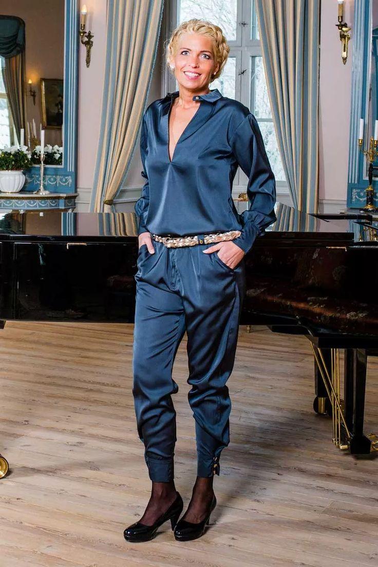 Barfota sateng bukser gråblå