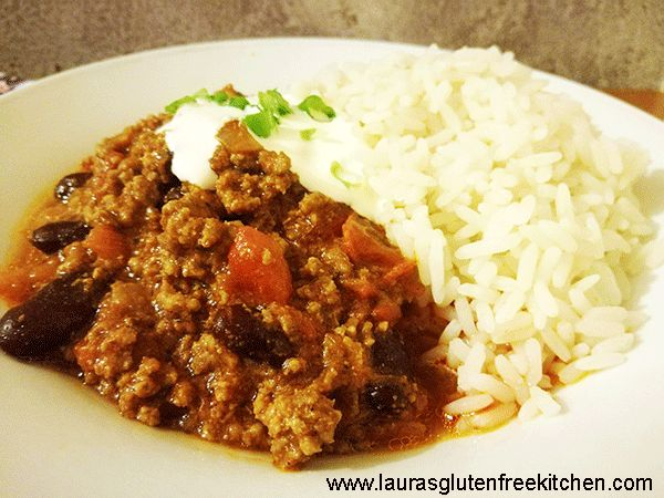Gluten Free Chill Con Carne --- What's not to love about this Gluten Free Chilli Con Carne recipe, it tastes delicious, it's cheap and simple to make, it's one of your five-a-day, it freezes so you can make a big batch and save some for another day.