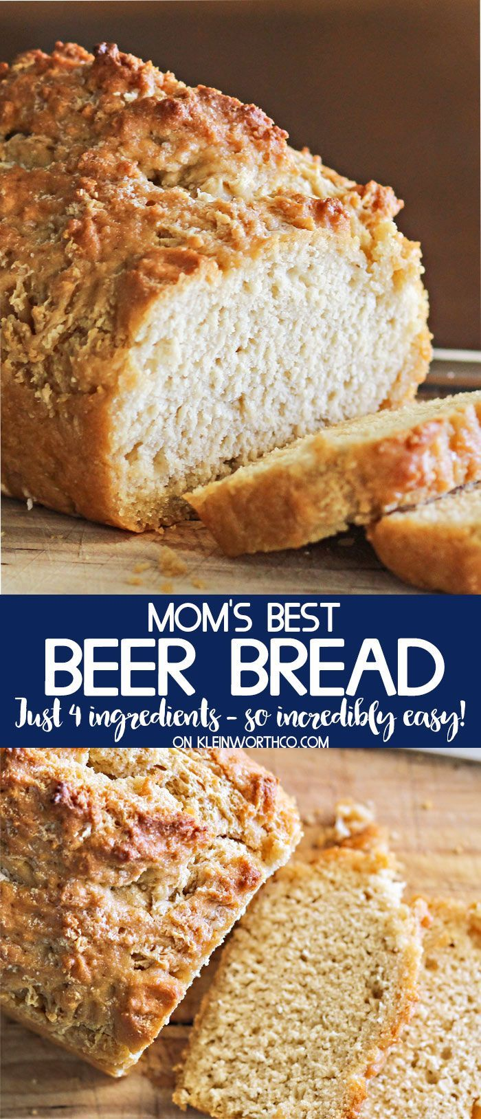 Moms Best Beer Bread recipe is one of the easiest bread recipes around. With just 4 ingredients, no rise time & just 1 hour, it's perfect with every meal. via @KleinworthCo