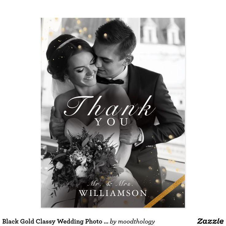 Black Gold Classy Wedding Photo Thank You Postcard