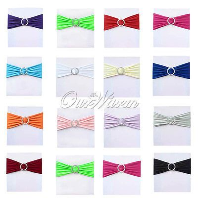 100 Stretch Chair Cover Bands With Buckle Slider Replace Chair Sash Bow Colors