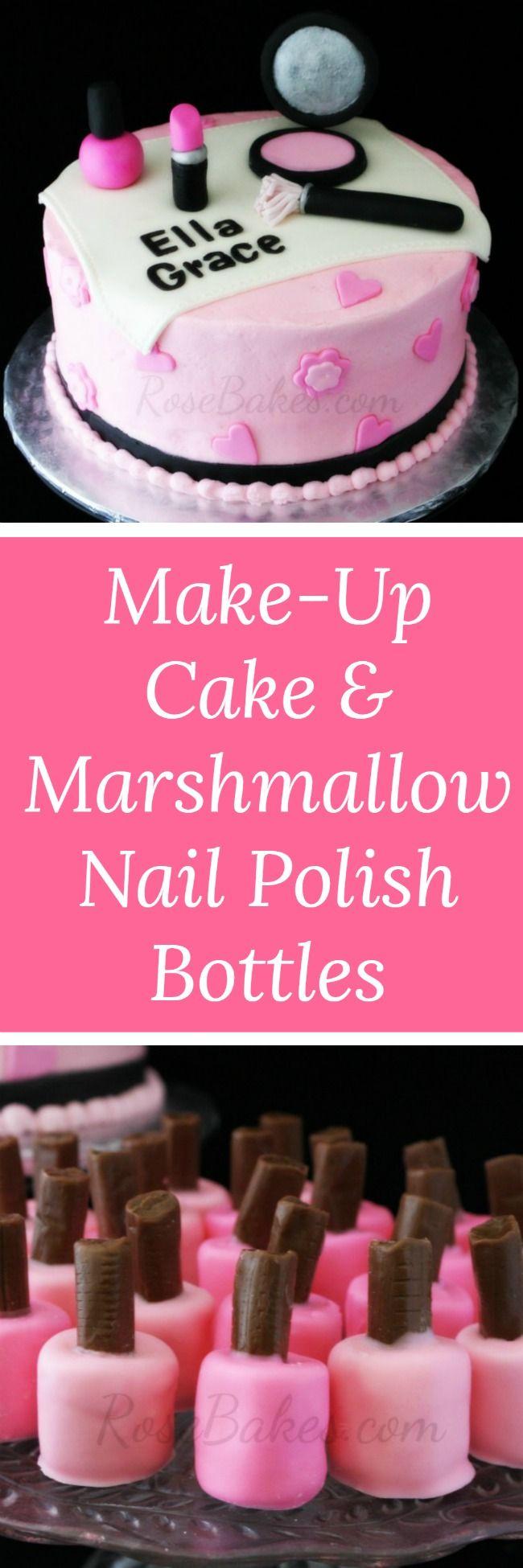 Make-Up Cake & Marshmallow Nail Polish Bottles by RoseBakes