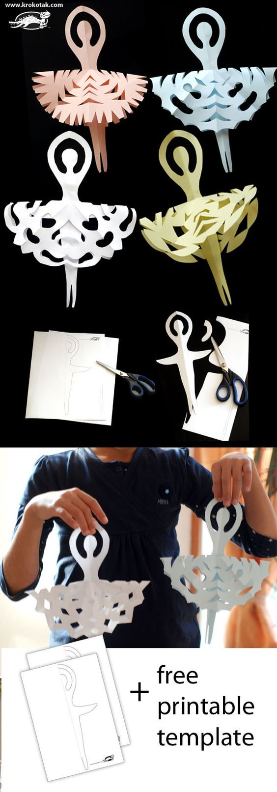 DIY Ballerinas Snowflakes for kids.... I have been making these since i saw them. 4 down... who knows how many more. None for decorating the girls are playing with them as paperdolls.