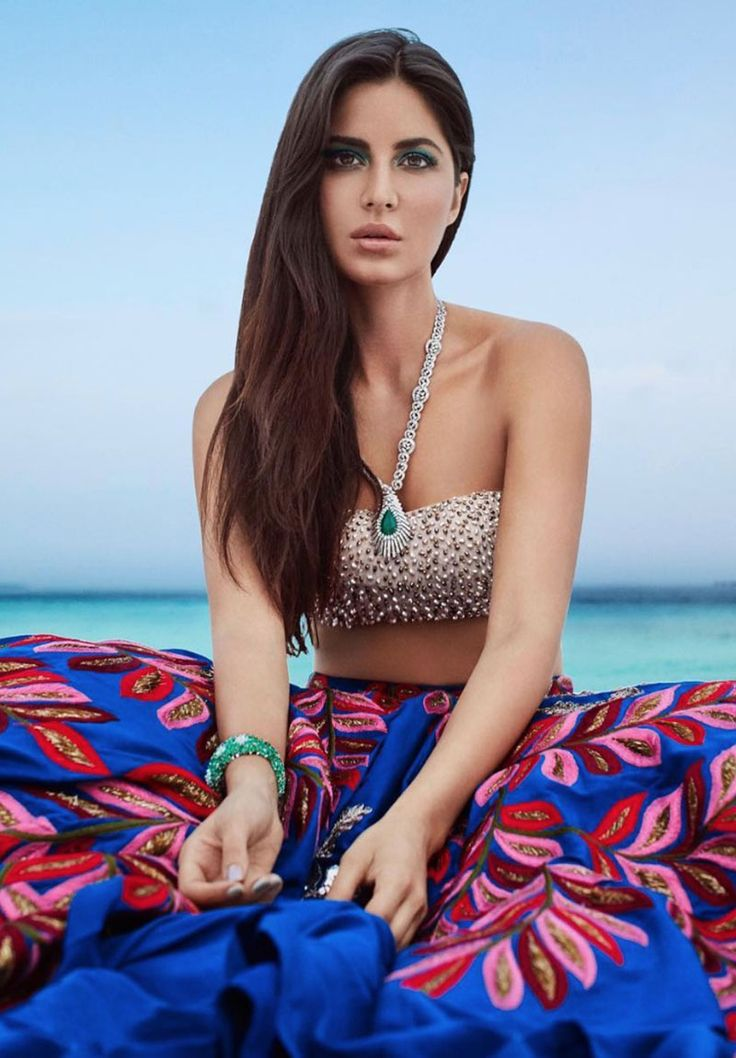 An exquisite bridal bikini top and lehenga from Manish Malhotra's beach-bride collection... Katrina Kaif looking gorgeous. Click Here >> Voompla.com