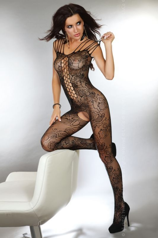 Corsetti Nikandra Bodystocking £21.99 Black Bodystocking with floral pattern and a whale net panel to the front.  www.townoftoys.co.uk