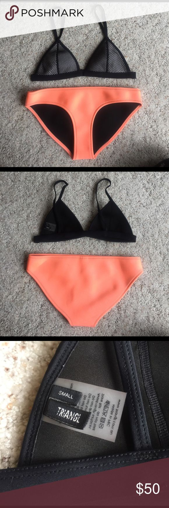 Triangl neoprene bikini Classic Triangl bikini. Perfect for summer! Neon orange bottom with black and white top. Worn a handful of times. Great condition! Bottom and top are a size small. I still have the bag, but it has a few stains (pictured). triangl swimwear Swim Bikinis