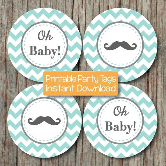 Oh Baby! Chevron Baby Shower Tags Little Man Mustache Favor Labels by BumpAndBeyondDesigns, $4.00