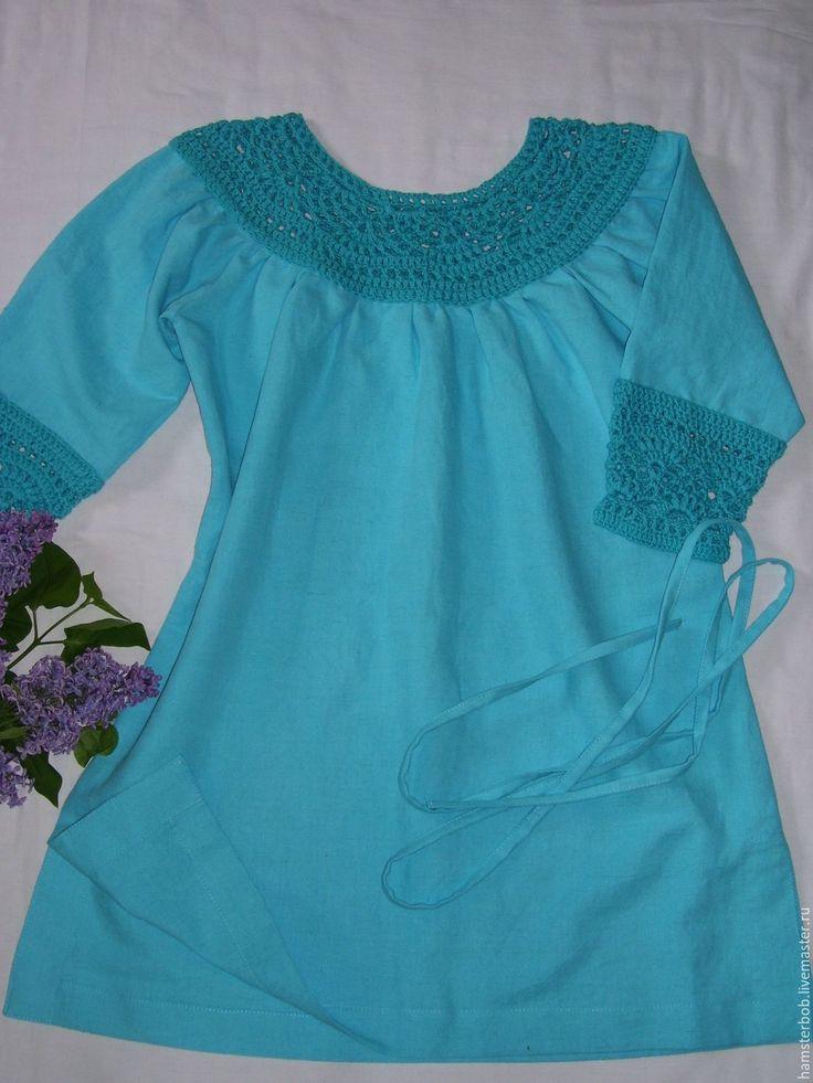Купить Льняная туника с вязаной кокеткой - голубой, однотонный, туника на лето, платье на лето