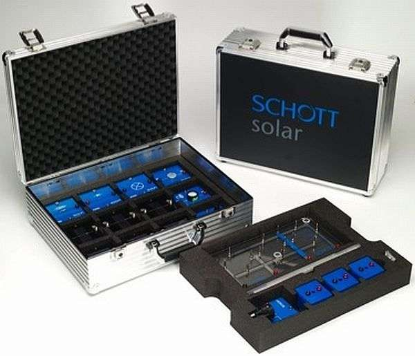 Schott Solar's Suitcases are Specially Designed for School Students-  Schott Solar's solar suitcases are equipped with small solar panels to generate power from the Sun. The box also comes with basic instruments required for experimentation and a CD with instructions on using the solar power for experiments.