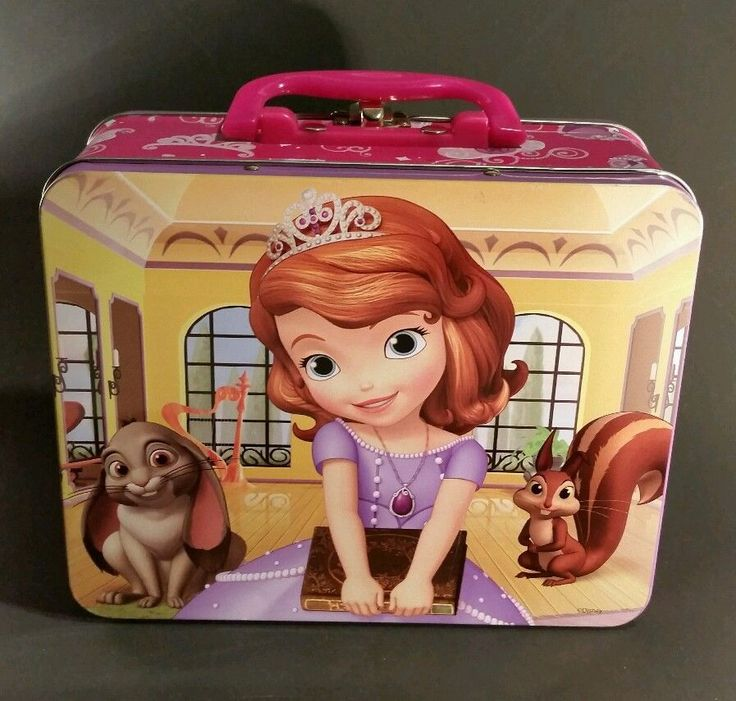 DISNEY PRINCESS SOFIA THE FIRST METAL LUNCHBOX STORAGE CARRYING CASE PURSE #Disney