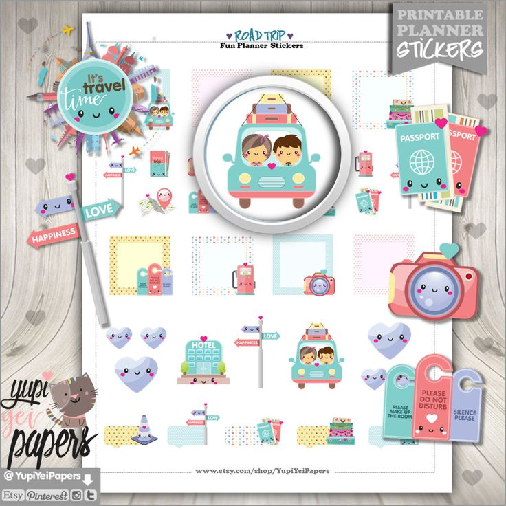 50%OFF - Travel Stickers, Planner Stickers, Road Trip Stickers, Digital Stickers, Planner Accessories, Printable Stickers, Kawaii Stickers
