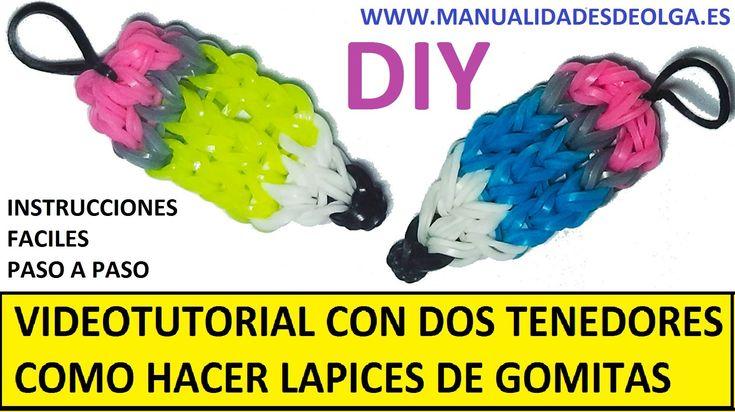 COMO HACER UN LAPIZ DE GOMITAS (LIGAS) CHARMS CON DOS TENEDORES. VIDEOTUTORIAL DIY.