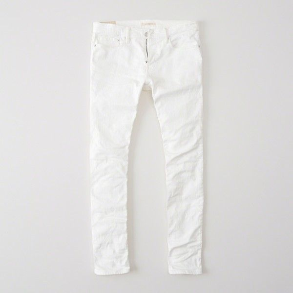 Abercrombie & Fitch Skinny Jeans ($35) ❤ liked on Polyvore featuring men's fashion, men's clothing, men's jeans, white, mens white skinny jeans, mens stretch jeans, mens stretch skinny jeans, mens button fly jeans and mens white jeans
