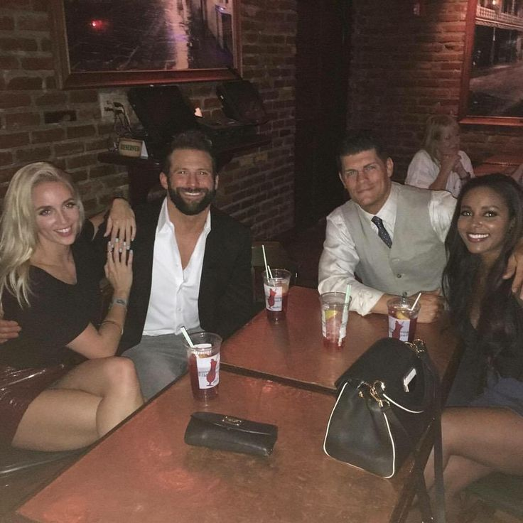 WWE Superstar Zack Ryder (Matthew Cardona) and his girlfriend Chelsea Greene on a double date with former WWE Superstars Cody Rhodes and his wife Brandi Rhodes #WWE #TotalDivas #wwecouples #wwewives #wwewags #wwebros