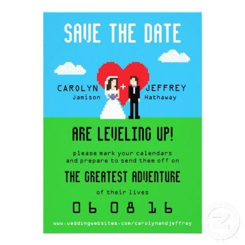 Nerdy Wedding Invites: Adorably Nerdy 8-Bit Save The Date Custom Invites