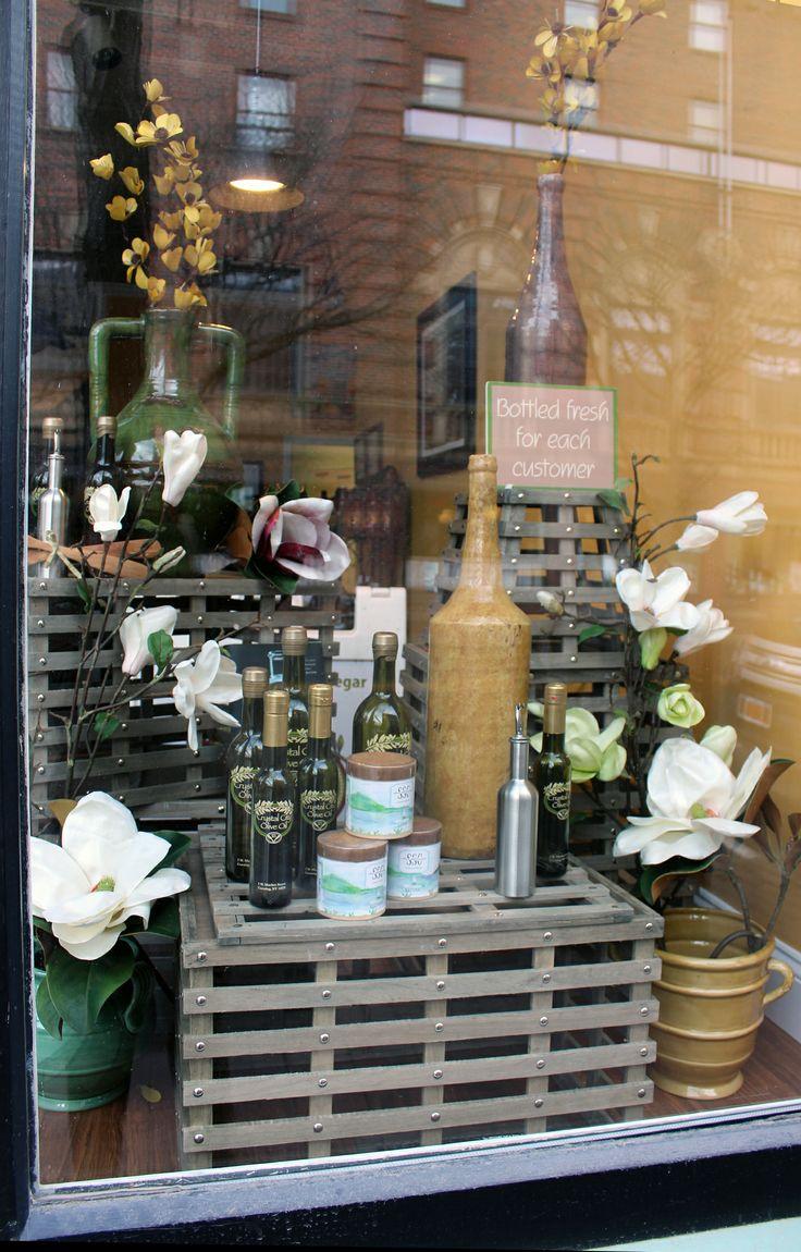 Crystal City Olive Oil Spring Window Display Tuscan