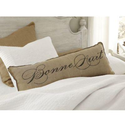 Bonjour Bonne Nuit Burlap Pillow