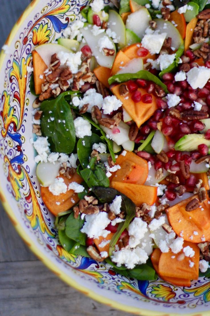 Persimmon, Pear, Pomegranate and Avocado Salad Recipe with Walnuts and Feta. Simple, colorful, vegetarian, perfect for Fall I Rainbow Delicious