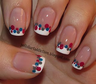 Change the colors for duck season or christmas lights.Polish Art, Polka Dots, French Manicures, 4Th Of July, French Tips, Nails Art Design, Patriots Nails, The Dots, Nail Art