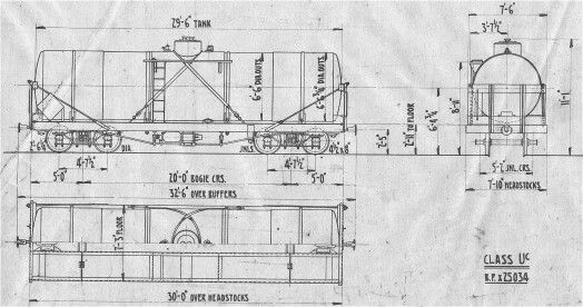 NZR, New Zealand Railways, Uc Tank Wagon Line Drawings