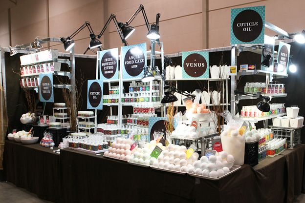 So much to learn from this soap booth. Lots of levels, easy to pick up items, lots of light, great color...