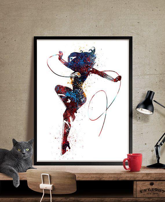Wonder Women Art Print Watercolor Superhero Art by FineArtCenter