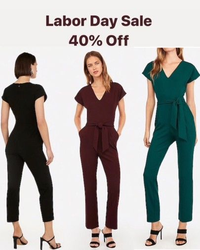 Labor Day Sale event! Get 40% off this v-neck jumpsuit. Now only $52! Comes in 3…