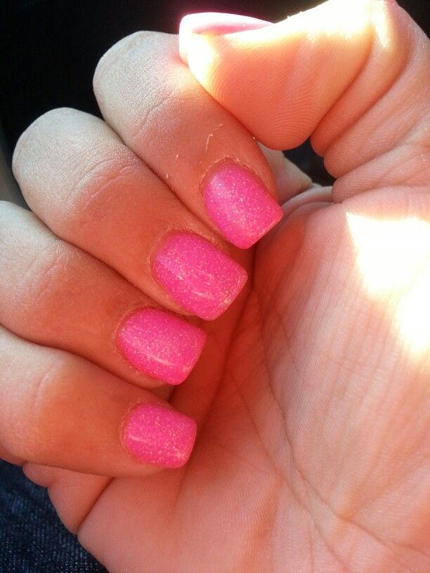 Hot Pink with Glitter Solar Nails