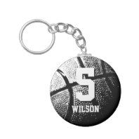 Personalized basketball keychain | name and number. Lucky Number 25 basketball keychains. Personalizable name and jersey number. Cool sports gift idea for basketball players and fans. Cute present for kids little league team boys and girls. Black and white photo.