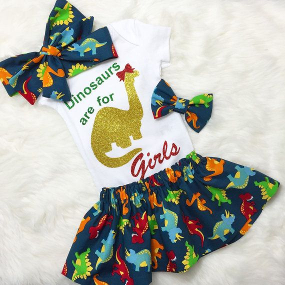 Dinosaurs Are For Girls Outfit dinosaur от AllThatGlittersBaby