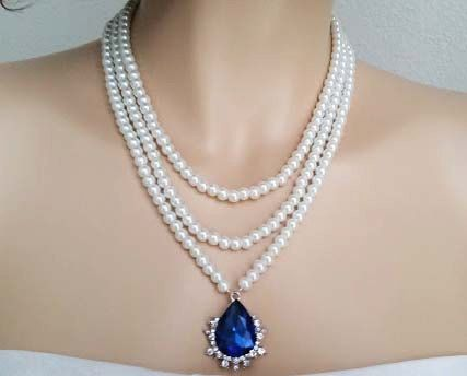 wedding statement necklace sapphire bridal set wedding bridal jewelry blue drop pearl necklace statement crystal vintage glamour cora