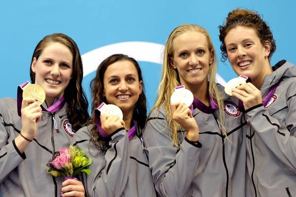 The US women's 4x100-meter medley relay team members (from left) Missy Franklin, Rebecca Soni, Dana Vollmer and Allison Schmitt