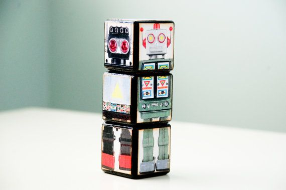 Robot blocks: Retro Robots, Robots The Boys, Kids Room, Room Decor, Robots Blocks, Boy Rooms, Baby Boy, Blue Boys Rooms