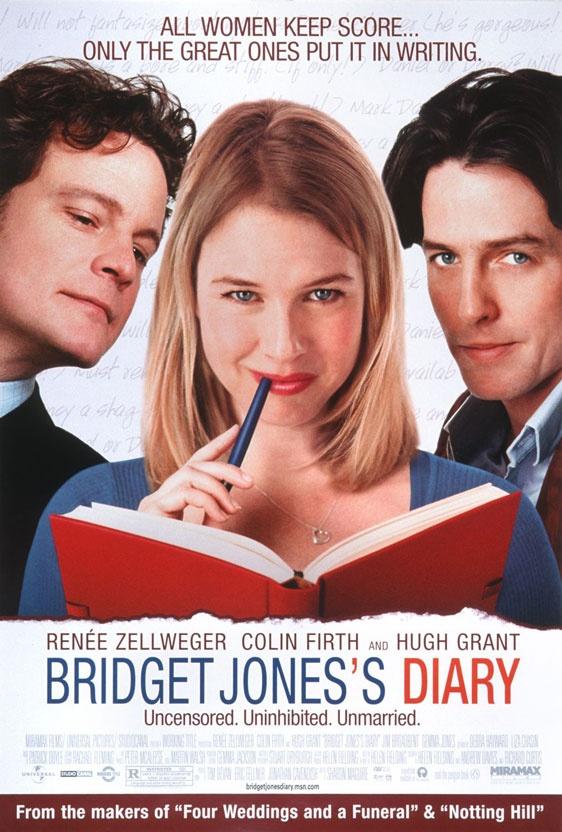 Bridget Jones's Diary (2001) - starring Colin Firth, Renee Zellweger & Hugh Grant - story based on Jane Austen's Pride & Prejudice