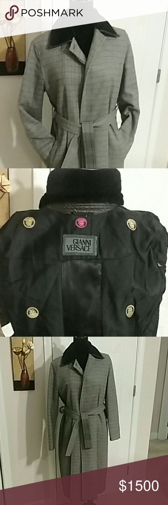 ANNOUNCING SOON  TO COME /GIANNI VERSACE COAT Gently used women's Beautiful Gianni Versace coat  SORRY HAVE NO SIZE LABEL INSIDE  The buttons are missing but  when wrapped is not noticeable The neck have leather and fur  Open to reasonable offers  thank you for stopping by Ginger  Thanks for sharing and likes GIANNI VERSACE COAT Jackets & Coats