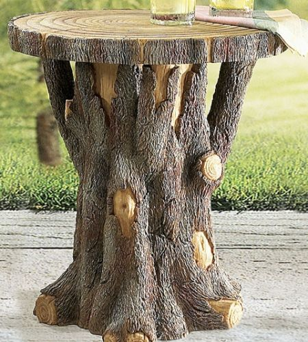 IN THE YARD:  Honestly the most perfect end table to go with your patio furniture. Tree stump table.