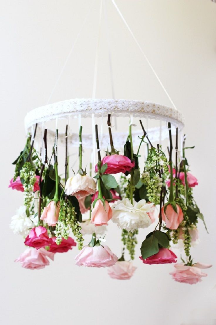 DIY Flower Chandelier - 16 Picture Perfect Spring Decorations to Celebrate the Blissful Season